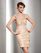 Sheath/Column Sweetheart Short/Mini Taffeta Cocktail Dress With Ruffle Beading (016014485)