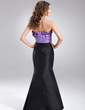 Trumpet/Mermaid Scalloped Neck Floor-Length Taffeta Bridesmaid Dress With Ruffle (007004280)