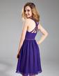 A-Line/Princess V-neck Short/Mini Chiffon Homecoming Dress With Beading (022019597)