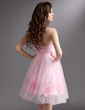 Empire Strapless Knee-Length Tulle Homecoming Dress With Ruffle Flower(s) (022016290)