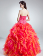 Ball-Gown Sweetheart Floor-Length Organza Quinceanera Dress With Beading Cascading Ruffles (021016018)