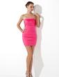Sheath/Column Strapless Short/Mini Satin Cocktail Dress With Ruffle (016020695)