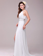 A-Line/Princess Scoop Neck Sweep Train Chiffon Evening Dress With Ruffle Beading Split Front (017014033)