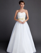 A-Line/Princess Sweetheart Floor-Length Organza Wedding Dress With Sash Flower(s) (002015901)