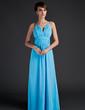 Çan/Prenses Yuvarlak Yaka Uzun Etekli Chiffon Gelin Annesi Elbisesi Ile Büzgü (008015636)