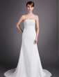 A-Line/Princess Strapless Court Train Chiffon Wedding Dress With Ruffle (002000566)