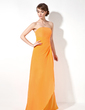 Sheath/Column Strapless Floor-Length Chiffon Bridesmaid Dress With Cascading Ruffles (007001016)