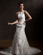 Trumpet/Mermaid Scoop Neck Chapel Train Tulle Lace Wedding Dress With Beading (002004770)