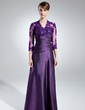 A-Line/Princess V-neck Floor-Length Taffeta Mother of the Bride Dress With Ruffle Lace Beading Sequins (008005866)
