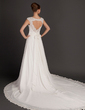 A-Line/Princess Square Neckline Cathedral Train Chiffon Wedding Dress With Ruffle Lace Beading Flower(s) (002015564)