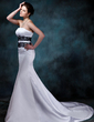 Trumpet/Mermaid Strapless Chapel Train Satin Wedding Dress With Lace Crystal Brooch (002001154)