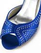 Women's Satin Cone Heel Peep Toe Sandals With Rhinestone (047026391)