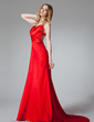 Sheath/Column Halter Sweep Train Charmeuse Prom Dress With Ruffle Beading (018002780)
