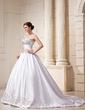 Balo Elbisesi Kalp Kesimli Şapel Kuyruk Satin Gelinlik Ile Nakışlı Boncuklama Pullarda (002011761)