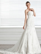 A-Line/Princess Sweetheart Court Train Tulle Wedding Dress With Ruffle Beading Appliques Lace (002005317)
