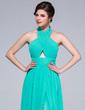 A-Line/Princess Halter Floor-Length Chiffon Holiday Dress With Ruffle Split Front (007037267)