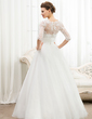 Ball-Gown Scoop Neck Floor-Length Organza Lace Wedding Dress With Ruffle Beading Sequins (002056467)
