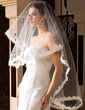 One-tier Fingertip Bridal Veils With Lace Applique Edge (006036662)