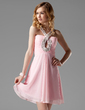 A-Line/Princess V-neck Short/Mini Chiffon Homecoming Dress With Ruffle Beading Appliques Lace Sequins (022004334)