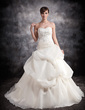 Ball-Gown Sweetheart Chapel Train Satin Organza Wedding Dress With Ruffle Lace Beading (002016904)