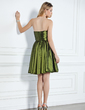 A-Line/Princess Strapless Knee-Length Taffeta Bridesmaid Dress With Ruffle Flower(s) (007004119)