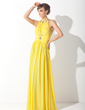 A-Line/Princess Halter Floor-Length Chiffon Prom Dress With Ruffle Beading (018015094)