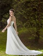 A-Line/Princess Strapless Court Train Chiffon Wedding Dress With Ruffle Beading (002004984)