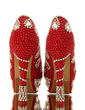Women's Real Leather Stiletto Heel Closed Toe Platform Pumps With Imitation Pearl Rhinestone (047054777)