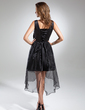 A-Line/Princess V-neck Asymmetrical Organza Cocktail Dress With Ruffle Bow(s) (016015580)