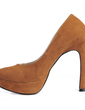 Suede Chunky Heel Pumps Platform Closed Toe shoes (085017481)