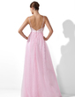 Empire Sweetheart Floor-Length Satin Tulle Evening Dress With Beading Sequins Bow(s) (017004348)