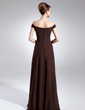 A-Line/Princess Off-the-Shoulder Floor-Length Chiffon Mother of the Bride Dress With Ruffle Beading (008015718)