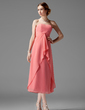 A-Line/Princess Sweetheart Tea-Length Chiffon Bridesmaid Dress With Cascading Ruffles (007001841)