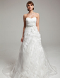 A-Line/Princess Sweetheart Court Train Organza Wedding Dress With Ruffle Beading Flower(s) (002017543)