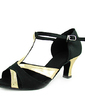 Women's Satin Patent Leather Heels Sandals Latin With T-Strap Dance Shoes (053013364)