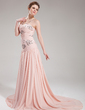 A-Line/Princess Sweetheart Court Train Chiffon Evening Dress With Ruffle Beading Sequins (017019760)