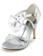 Women's Satin Cone Heel Platform Pumps Sandals With Bowknot Rhinestone (047020156)