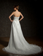 A-Line/Princess Sweetheart Chapel Train Organza Wedding Dress With Ruffle Beading Appliques Lace (002000296)