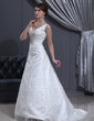 A-Line/Princess V-neck Sweep Train Lace Wedding Dress With Beading (002012800)