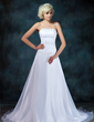 A-Line/Princess Strapless Chapel Train Satin Organza Wedding Dress With Ruffle Beading Sequins (002001403)