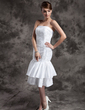 Sheath/Column Strapless Knee-Length Taffeta Lace Wedding Dress With Beading Appliques Lace Sequins (002024077)