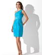 Kılıf Tek-Omuzlu Kısa/Mini Taffeta Mezunlar Gecesi Elbisesi Ile Büzgü (022010349)