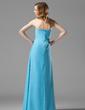 Wąska Bez ramiączek Do Podłogi Chiffon Suknia dla Druhny Z Żabot Kwiat(y) (007004157)