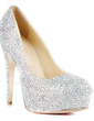 Women's Patent Leather Stiletto Heel Pumps Platform Closed Toe With Rhinestone shoes (085026495)