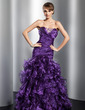 Trumpet/Mermaid Sweetheart Floor-Length Organza Prom Dress With Beading Cascading Ruffles (018014782)