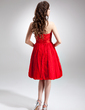 A-Line/Princess Sweetheart Knee-Length Taffeta Lace Homecoming Dress With Ruffle (022020860)