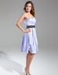 A-Line/Princess Sweetheart Knee-Length Charmeuse Cocktail Dress With Ruffle Sash Beading (016015585)