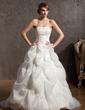 Balo Elbisesi Kalp Kesimli Şapel Kuyruk Organza Satin Gelinlik Ile Nakış Boncuklama (002014946)