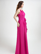 A-Line/Princess Halter Floor-Length Chiffon Holiday Dress With Ruffle (020015819)