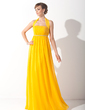 Empire Halter Floor-Length Chiffon Holiday Dress With Ruffle Beading (020015090)